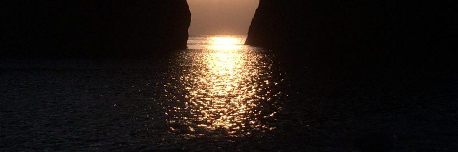 sea tunnel at sunset