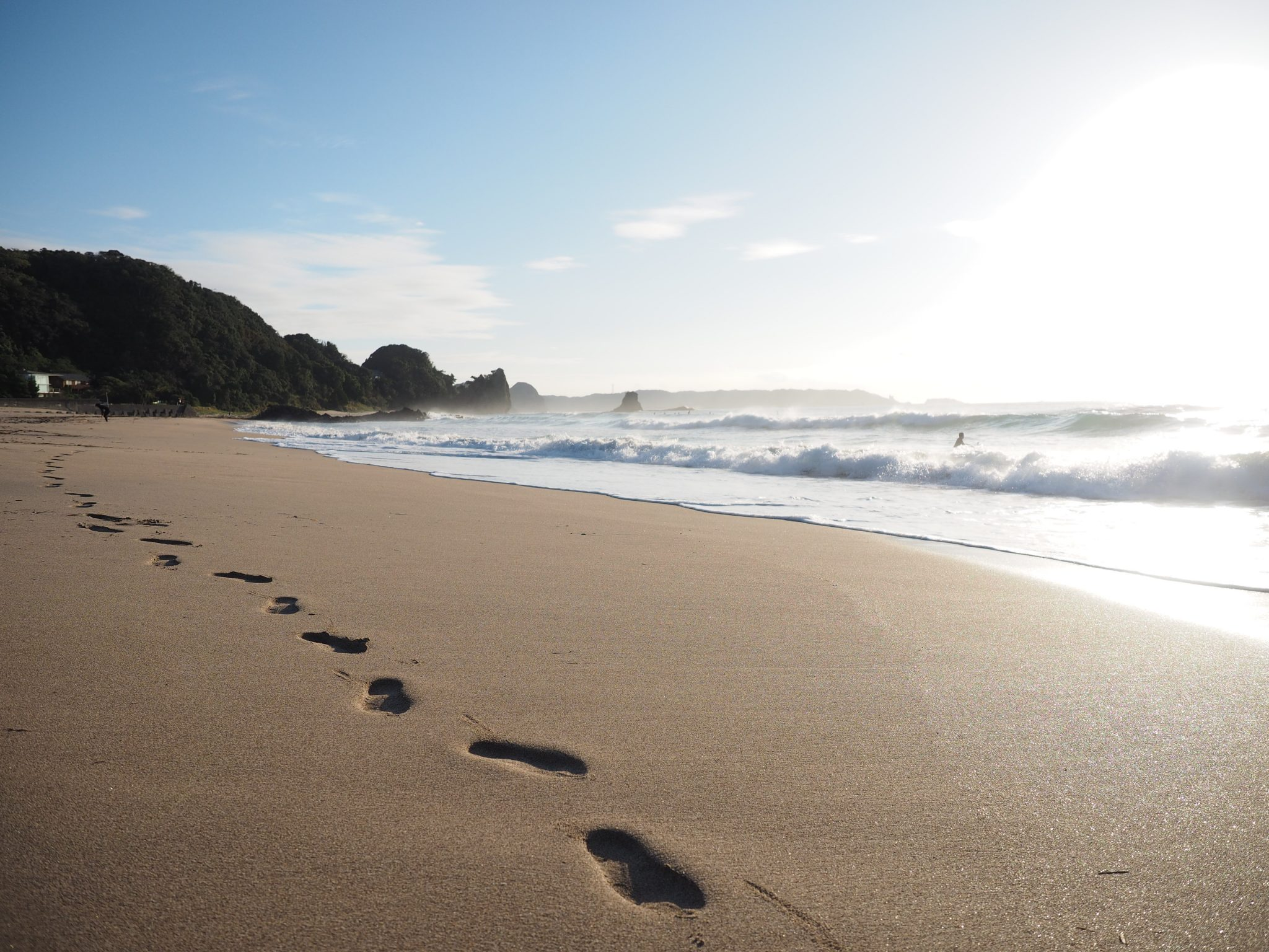 Footsteps in the sand at Kisami Ohama Walk