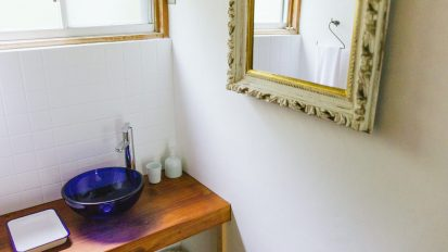 sink and upcycled mirror