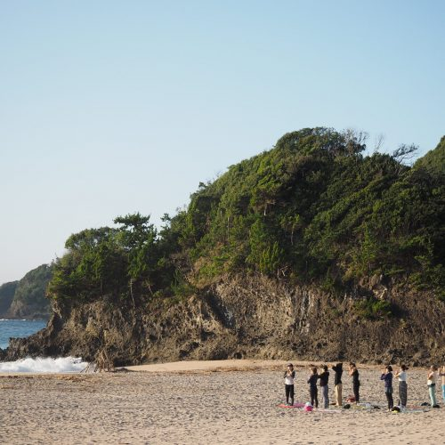 Beach yoga at Retreat wabi-sabi