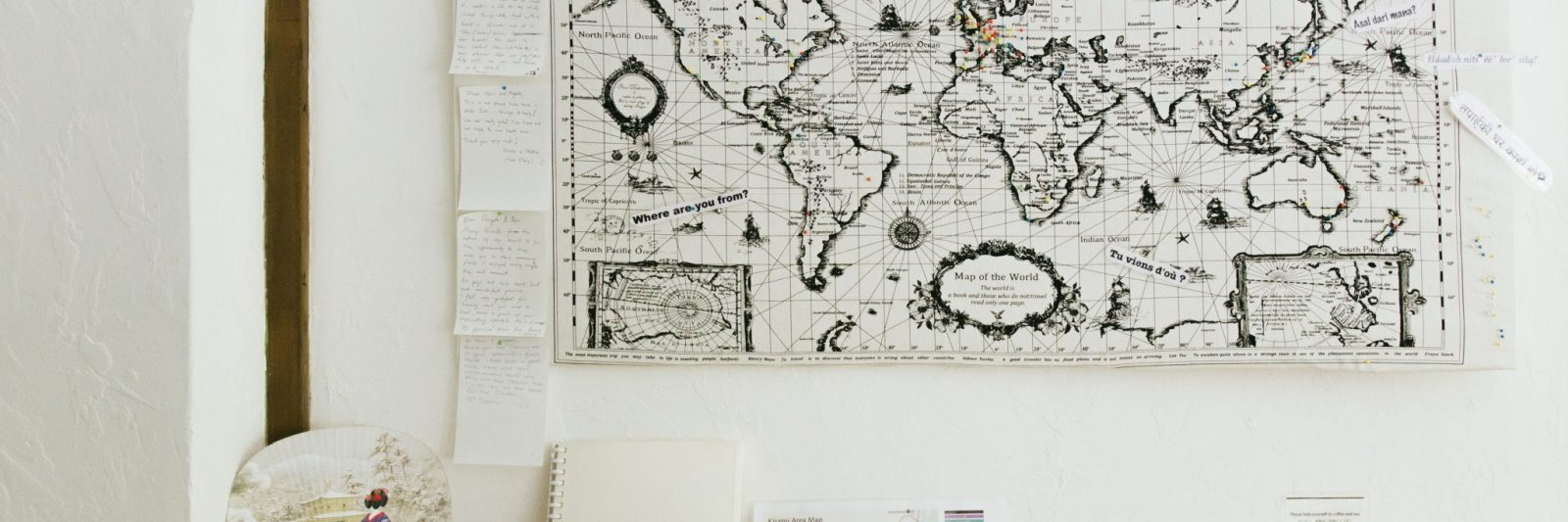 """Make your mark on the """"where are you from?"""" map in the kitchen at Retreat wabi-sabi"""