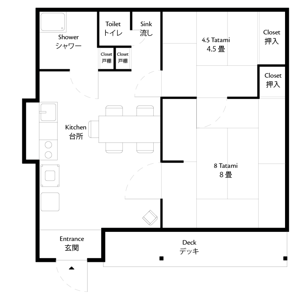 A floor plan showing the details of Coya Cottage